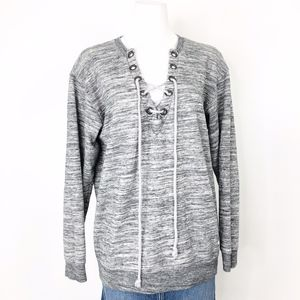 VS Pink | Heather Grey Lace Up Pullover Sweatshirt